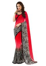 Get 53% off on Jaanvi Fashion Designer Red Chiffon Saree