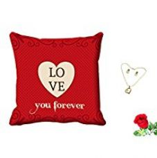 Buy meSleep Red Love Valentine Digital Printed Cushion (With Filler) With Free Artificial Rose and Pendant Set from Amazon