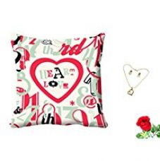 Buy meSleep Heart Love Valentine Digital Printed Cushion (With Filler) With Free Artificial Rose and Pendant Set from Amazon