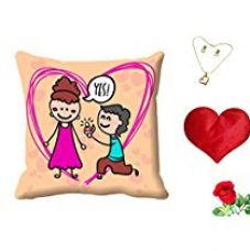 MeSleep Yes Valentine's Day Digital Printed Cushion (With Filler) With Free Heart Shaped Filled Cushion and Artificial Rose and Pendant Set for Rs. 549