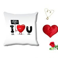 MeSleep Love You Valentine Digital Printed Cushion (With Filler) With Free Heart Shaped Filled Cushion and Artificial Rose and Pendant Set for Rs. 549