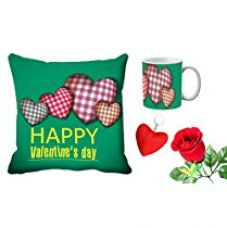 MeSleep Happy Valentine's Digital Printed Cushion (With Filler) & Mug With Free Artificial Rose And Key Chain for Rs. 579