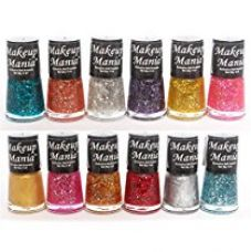 Makeup Mania Ultimate Glitter Nail Polish Set of 12 Pcs (Multicolor Shimmer Nail Paint Combo # 71) for Rs. 325