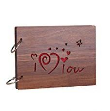 Sehaz Artworks 'ILoveYou' Wood Pasted Photo Album (22 cm x 16 cm x 4 cm, Brown) for Rs. 499