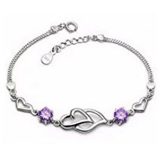 Buy Karatcart Platinum Plated Purple Heart Shaped Bracelet For Women from Amazon