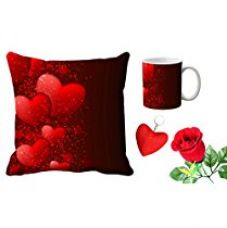 Buy meSleep Red Heart Valentine Digital Printed Cushion (With Filler) & Mug With Free Artificial Rose And Key Chain from Amazon