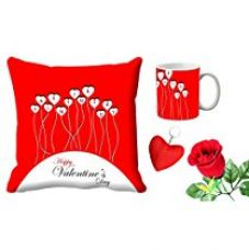 MeSleep Red Happy Valentine's day Digital Printed Cushion (With Filler) & Mug With Free Artificial Rose And Key Chain for Rs. 579