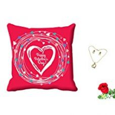 Buy meSleep Happy Valentine Pink Digital Printed Cushion (With Filler) With Free Artificial Rose and Pendant Set from Amazon