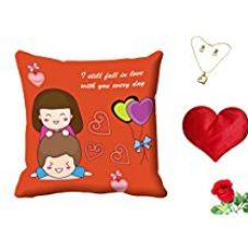 MeSleep Orange Quotes Valentine Digital Printed Cushion (With Filler) With Free Heart Shaped Filled Cushion and Artificial Rose and Pendant Set for Rs. 549