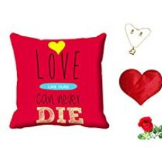 MeSleep Love Can Never Die Valentine Digital Printed Cushion (With Filler) With Free Heart Shaped Filled Cushion and Artificial Rose and Pendant Set for Rs. 549