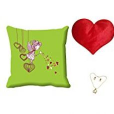 MeSleep Green Cartoon Valentine Digital Printed Cushion (With Filler) With Free Heart Shaped Filled Cushion and Pendant Set for Rs. 549