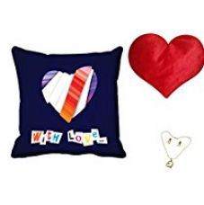 Buy meSleep With Love Valentine Digital Printed Cushion (With Filler) With Free Heart Shaped Filled Cushion and Pendant Set from Amazon