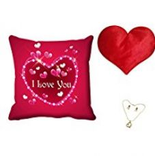 Buy meSleep Pink Love You Valentine Digital Printed Cushion (With Filler) With Free Heart Shaped Filled Cushion and Pendant Set from Amazon