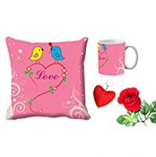 MeSleep Love Bird Valentine Digital Printed Cushion (With Filler) & Mug With Free Artificial Rose And Key Chain for Rs. 579