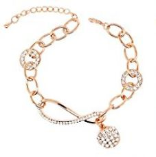 Buy Nakabh Elegant Rose Gold Crystal Charm Bracelet for Girls and Women from Amazon
