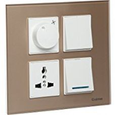 Buy Havells ACMPGCLS08 Murano 8M Square Glass Cover plate - Stone Beige from Amazon