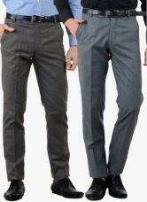 Flat 45% off on American-Elm Pack Of 2 Multicoloured Solid Slim Fit Formal Trousers