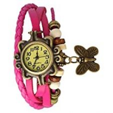 Buy Butterfly analoue womens watch pink from Amazon