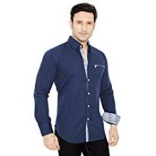 Globalrang Men'S Cotton Casual Blue Shirt (Medium) for Rs. 699
