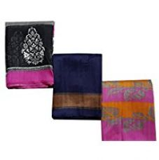 Buy DivyaEmporio Womens Combo of 3 Bhagalpuri Cotton Silk Sarees from Amazon