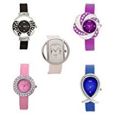 Buy Xeno Analogue Multicolour Dial Combo of 5 Watches for Women - ZD-GLS5-2WH-9BK-10BL-11PR-14PK-COMBO9 from Amazon