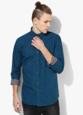 Flat 50% off on Park Avenue Blue Checked Slim Fit Casual Shirt