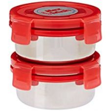 Cello Max Fresh Click Steel Lunch Box Set, 300ml, Set of 2, Red for Rs. 434