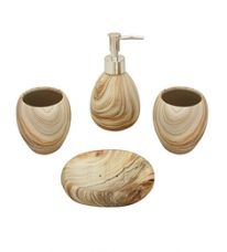 Flat 58% off on Home Belle Beige Ceramic Bathroom Accessories - Set of 4