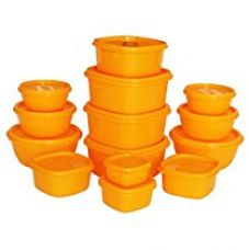 Buy Princeware SF Plastic Storage Container Set, 14-Pieces, Orange from Amazon