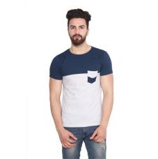 Get 50% off on Stylogue White And Blue Cotton T-Shirt
