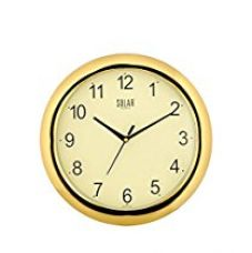 Solar Round Plastic Wall Clock (26 cm x 26 cm x 3 cm, Gold) for Rs. 299
