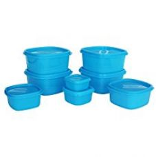 Princeware Store Fresh Plastic Square Container Set, 8-Pieces, Blue for Rs. 349