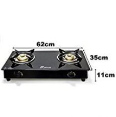 Buy Fabiano Fabsurya-2 Burner 7mm Toughened Glasstop Gas Stove Cooktop With Brass Burners, Black from Amazon