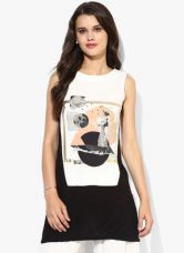 Buy W White Printed Viscose Blouse for Rs. 1190