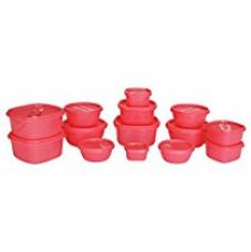 Buy Princeware SF Plastic Storage Container Set, 14-Pieces, Pink from Amazon