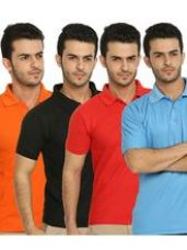Buy Lime Offers Combo of 4 Men's Polo T-Shirts, m, mul for Rs. 777