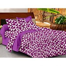 Casa Basic 144 Thread Count Double Bedsheet With 2 Pillow Cover-Purple for Rs. 449