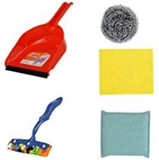 Gala 5 Piece Dustpan with Steel Scrubber, Kitchen Moppy, Kitchen Scrubber and Kitchen Wipe Combo Set (Assorted) for Rs. 221