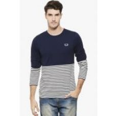 Buy RIGO Navy Solid and Stripe Tee-Full Sleeve from ShopClues