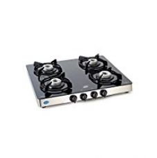 Buy Glen Kitchen 4 Burner Glass Gas Stove, Manual Ignition, Alloy Burners Cooktop, (CT1042GT, Black/Silver) from Amazon
