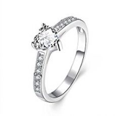 Yellow Chimes Lover Heart High Grade 925 Silver Plated Crystal Proposal Ring for Girls and Women for Rs. 375