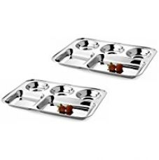 Buy King International Stainless Steel 5 In 1 Five Compartment Divided Dinner Plate, Set Of 2 Pc, 34 Cm from Amazon