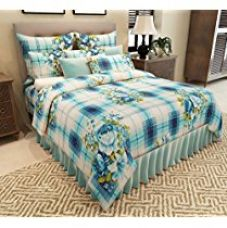 Buy Home Candy Geometric Premium Cotton Double Bedsheet with 2 Pillow Covers - Blue from Amazon
