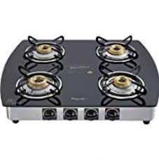 Pigeon by Stovekraft Blackline Oval SS 4 Burner Gas Stove, Black for Rs. 5,697