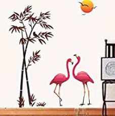 Decals Design 'Flamingos and Bamboo at Sunset' Wall Sticker (PVC Vinyl, 90 cm x 60 cm) for Rs. 88