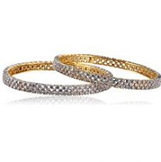 Buy MGold Beautiful Cz Stone Studded Gold Plated Bangle for Girl (2.40 IN) from Amazon
