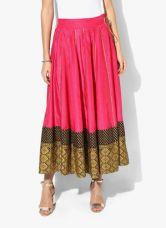 Buy W Pink Solid Viscose Flared Skirt from Jabong