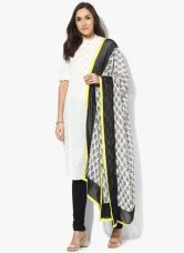 Get 40% off on W Off White Printed Crepe Dupatta