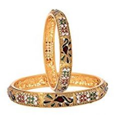 Zeneme Dancing Peacock American Diamond Bangles Jewellery For Women/Girls (2.4) for Rs. 379