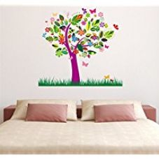 Decals Design 'Tree Beautiful Pattern Leaves and Grass' Wall Sticker (PVC Vinyl, 90 cm x 60 cm) for Rs. 155